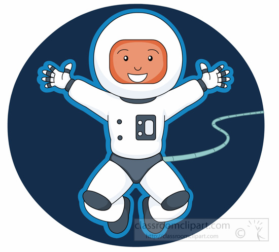space clipart - astronaut-attached-cord-clipart