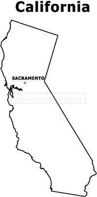 California : CA_map_bw : Classroom Clipart