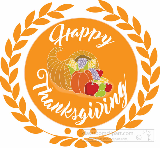 thanksgiving clipart clipart- -wreath-orange-happy