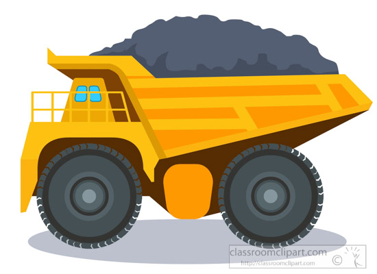 truck clipart- large-minig-dump-truck-with-load-transportation-clipart-318
