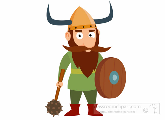 vikings clipart - viking-warrior-with-hammer-and-shield-vikings-clipart