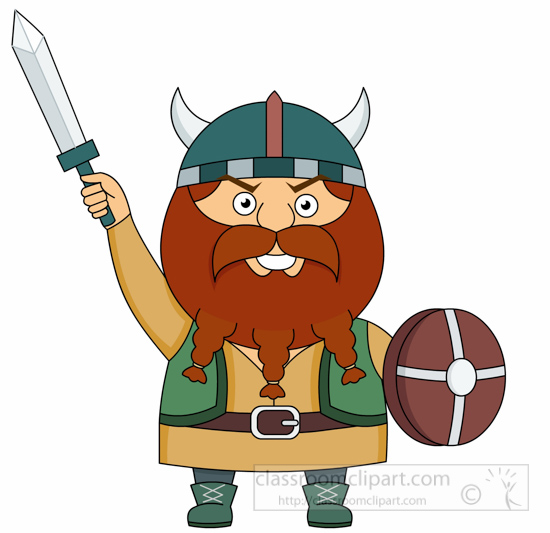 vikings clipart - viking-with-sword-and-wooden-shield-clipart