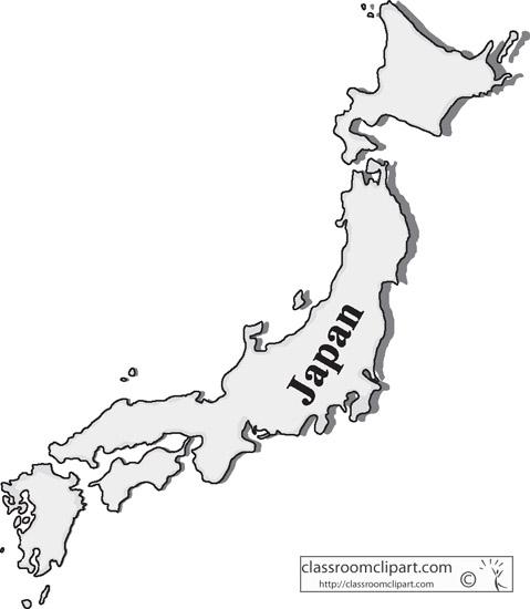 Japan : japan_gray_map_1005_14 : Classroom Clipart
