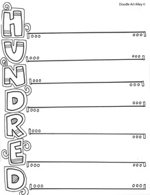 100 Days Coloring Pages : coloring, pages, 100th, School, Celebration, Classroom, Doodles