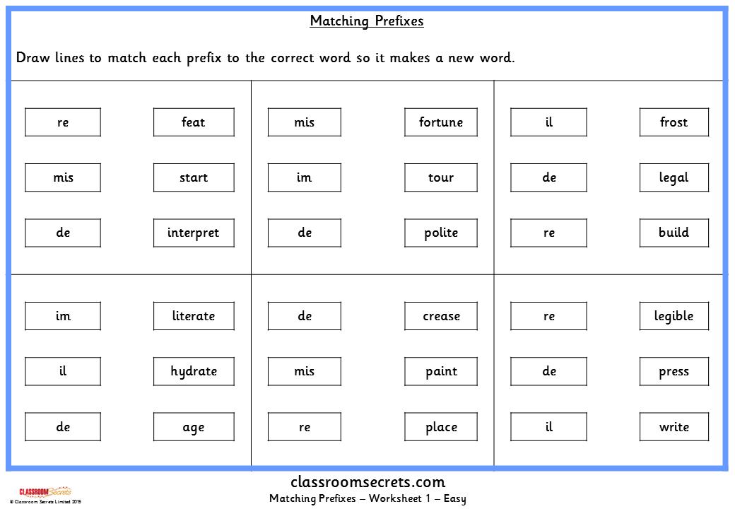 Matching Prefixes Ks2 Spag Test Practice