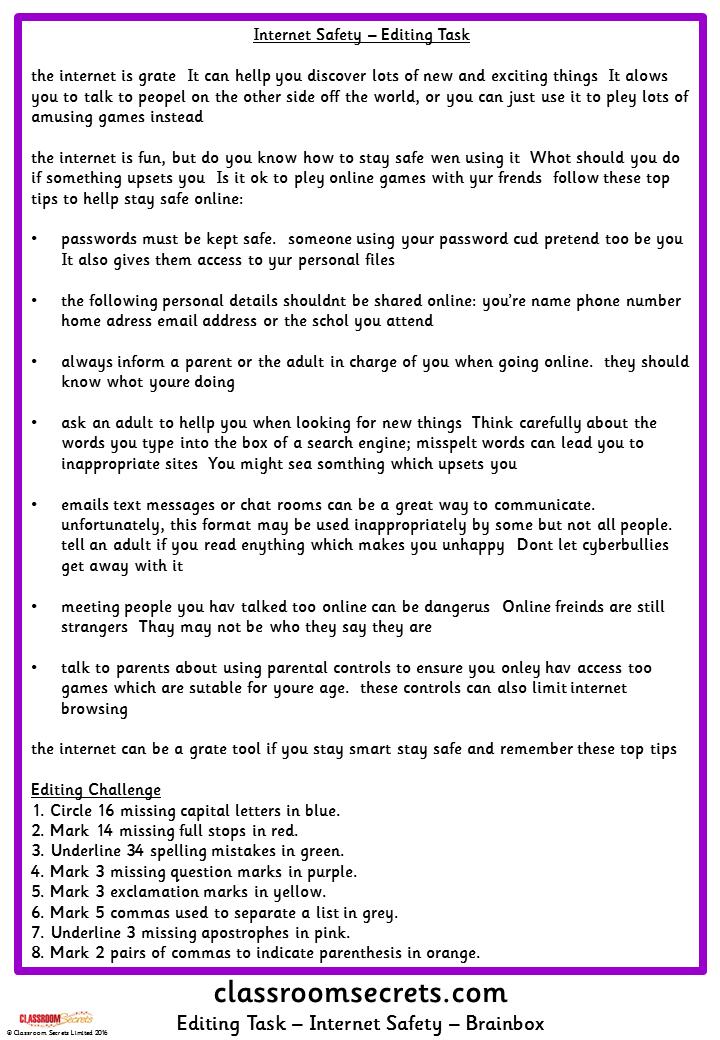 E Safety Editing Task Classroom Secrets