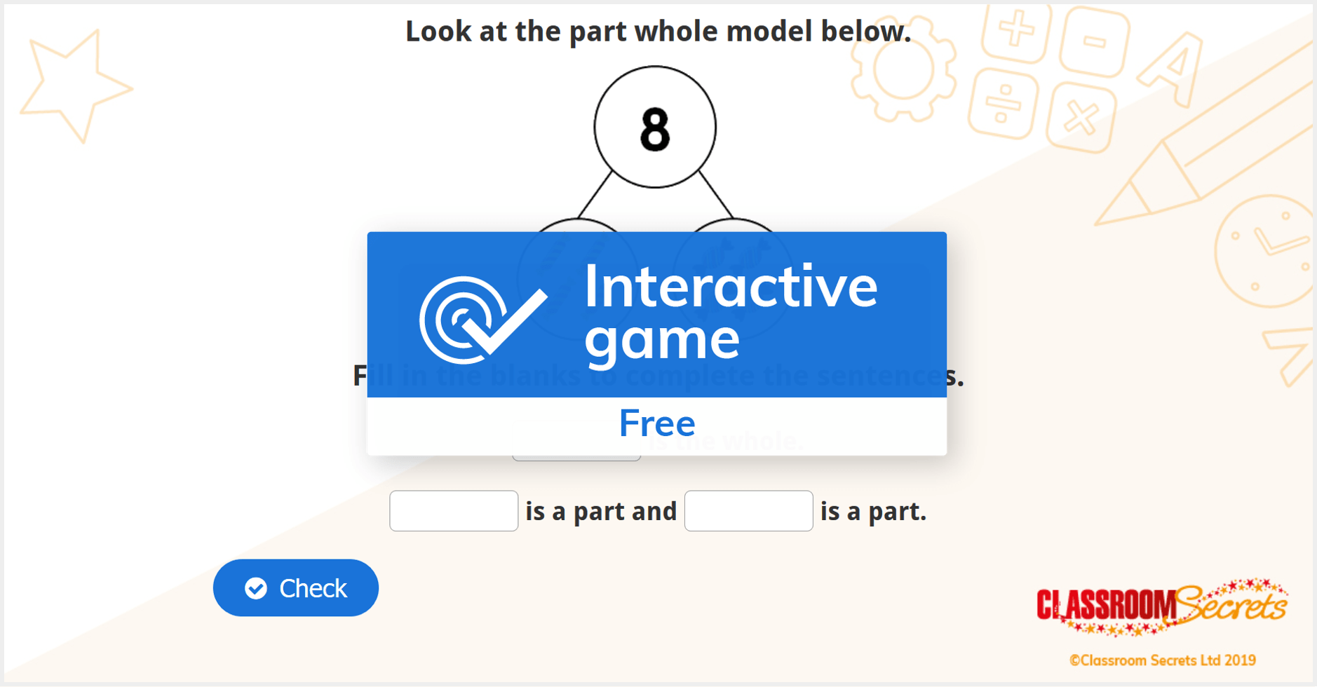Free Year 1 Part Whole Model Iwb Addition And Subtraction