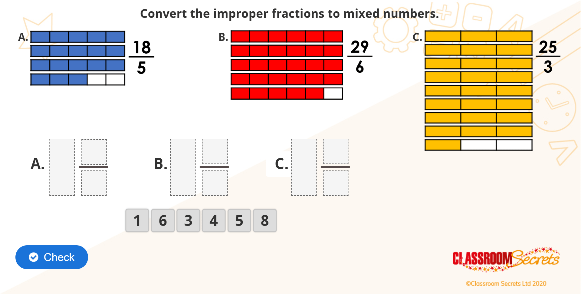 Year 5 Improper Fractions To Mixed Numbers Iwb Fractions