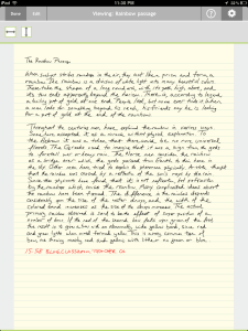 Handwriting notes (Rainbow Passage) using the Note Taker HD iPad App