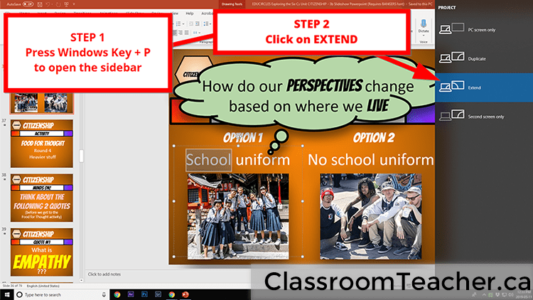 Screenshot showing instructions to get the extended desktop setting to show a separate screen on the classroom projector