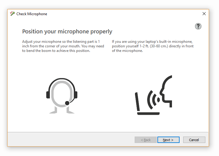Screenshot of Check Microphone window - the key is to position your microphone properly before using voice software...