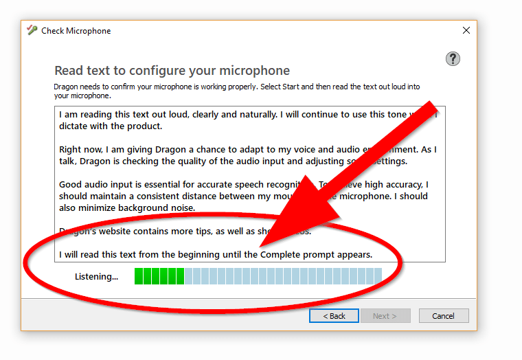 """Screenshot of """"Read text to configure your microphone"""" window. The voice software is listening and adjusting sound settings."""