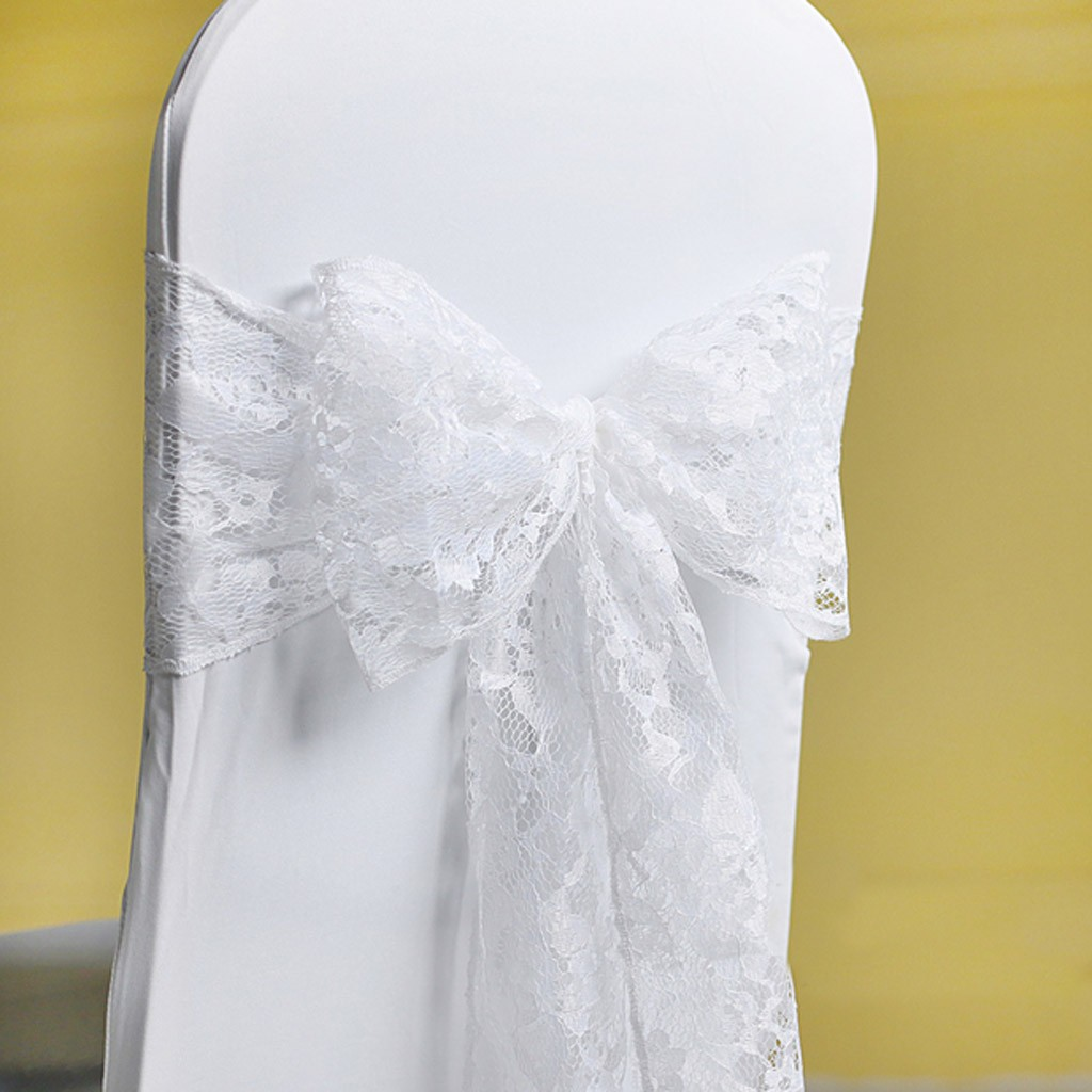 wedding chair sash accessories santa hat covers uk lace cover white