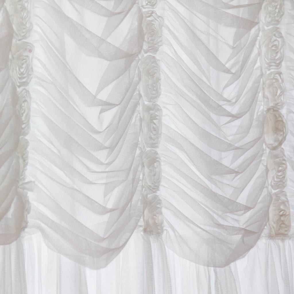 white ruching ruffle curtain panel