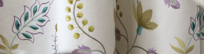 prestigious fabric, embroidery, flower pattern