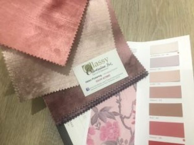 "alt=""Clarke and Clarke Allure Candy Blush and Rosewood Pink Velvet like Fabrics"""
