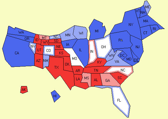 Cartogram of electoral map from 10-13-2008 polling data (electroal-vote.com)