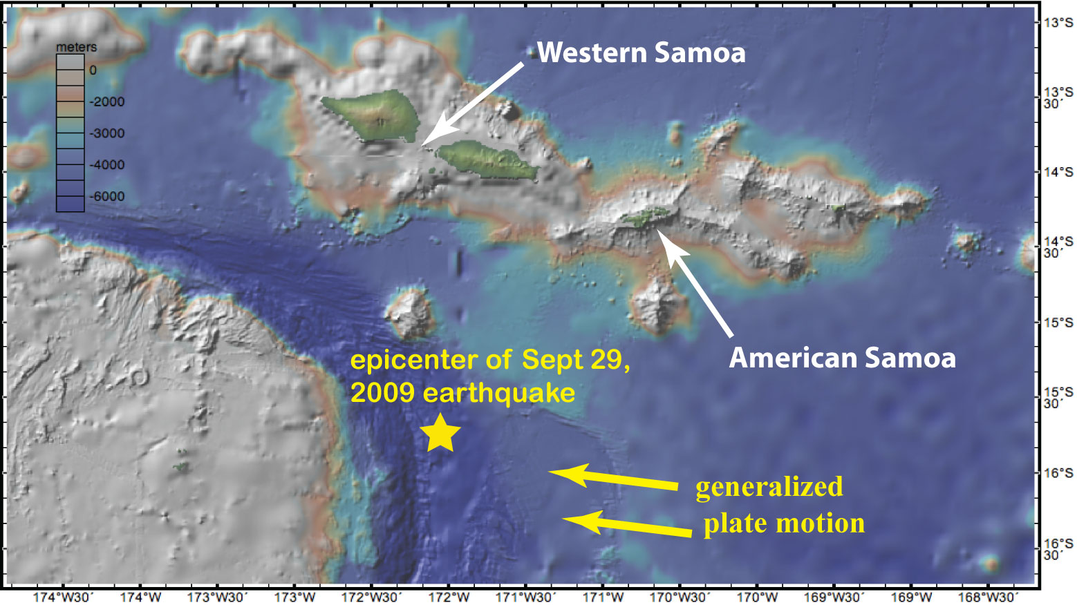 map of Samoa region (made in GeoMapApp) showing epicenter of Sept 29, 2009 8.0 earthquake