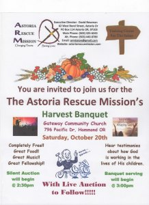 Astoria Rescue Mission Harvest Banquet and Auction @ Astoria Rescue Mission Harvest Banquet and Auction |  |  |