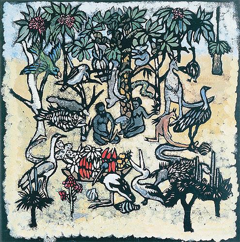 Margaret Preston\'s Adam and Eve in the Garden of Eden
