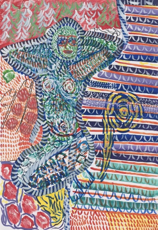 Femme pointillée - Peinture de Claude Tironneau