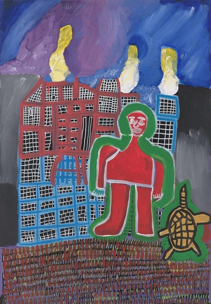 Maison en feu - Peinture de Claude Tironneau