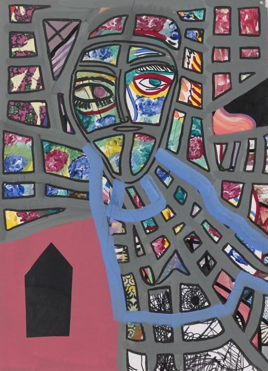 Tête géométrique - Peinture de Claude Tironneau