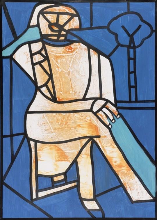 Homme assis - Peinture de Claude Tironneau