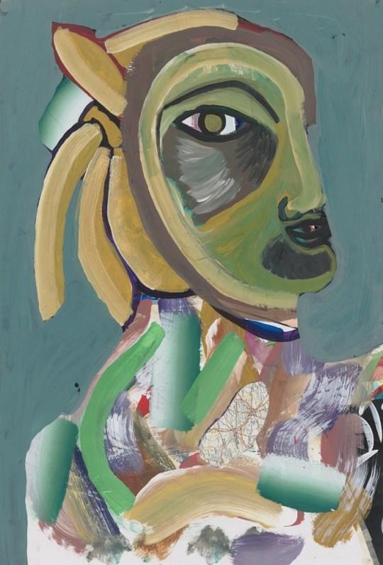 Tête avec cheveux de banane - Peinture de Claude Tironneau