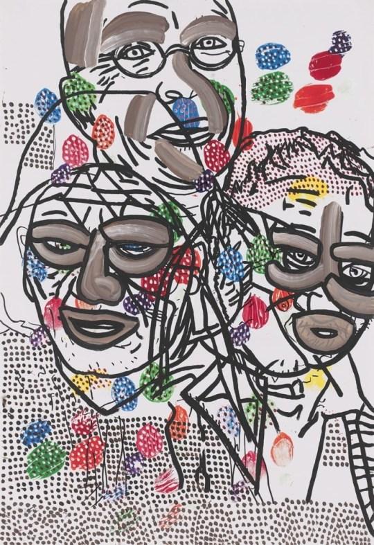 Trois têtes en noir - Peinture de Claude Tironneau