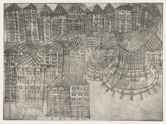 Vue de ville - Gravure de Claude Tironneau