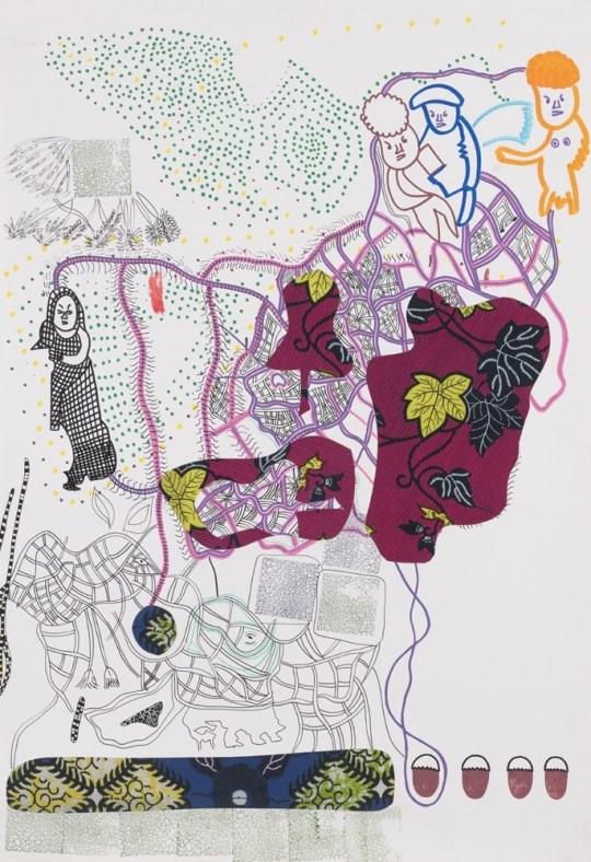 Peinture - Trois figures sur pointillé - 2016 - Claude Tironneau, artiste peintre