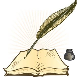 Quill Ink Pot and Open Book Vector Illustration