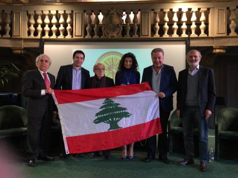 Poets with the Lebanese Flag
