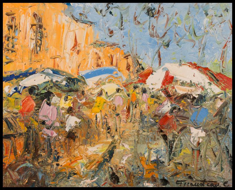 Marché de Provence - huile sur toile 46x38 cm
