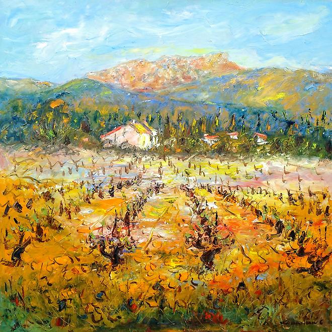 Huile sur toile : Vignoble provençal