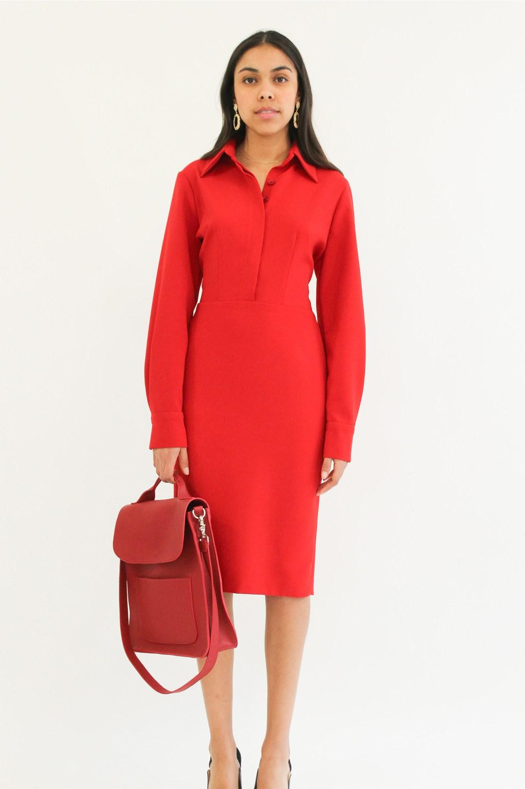 """ shirt dress""""crepe pencil red dress"""