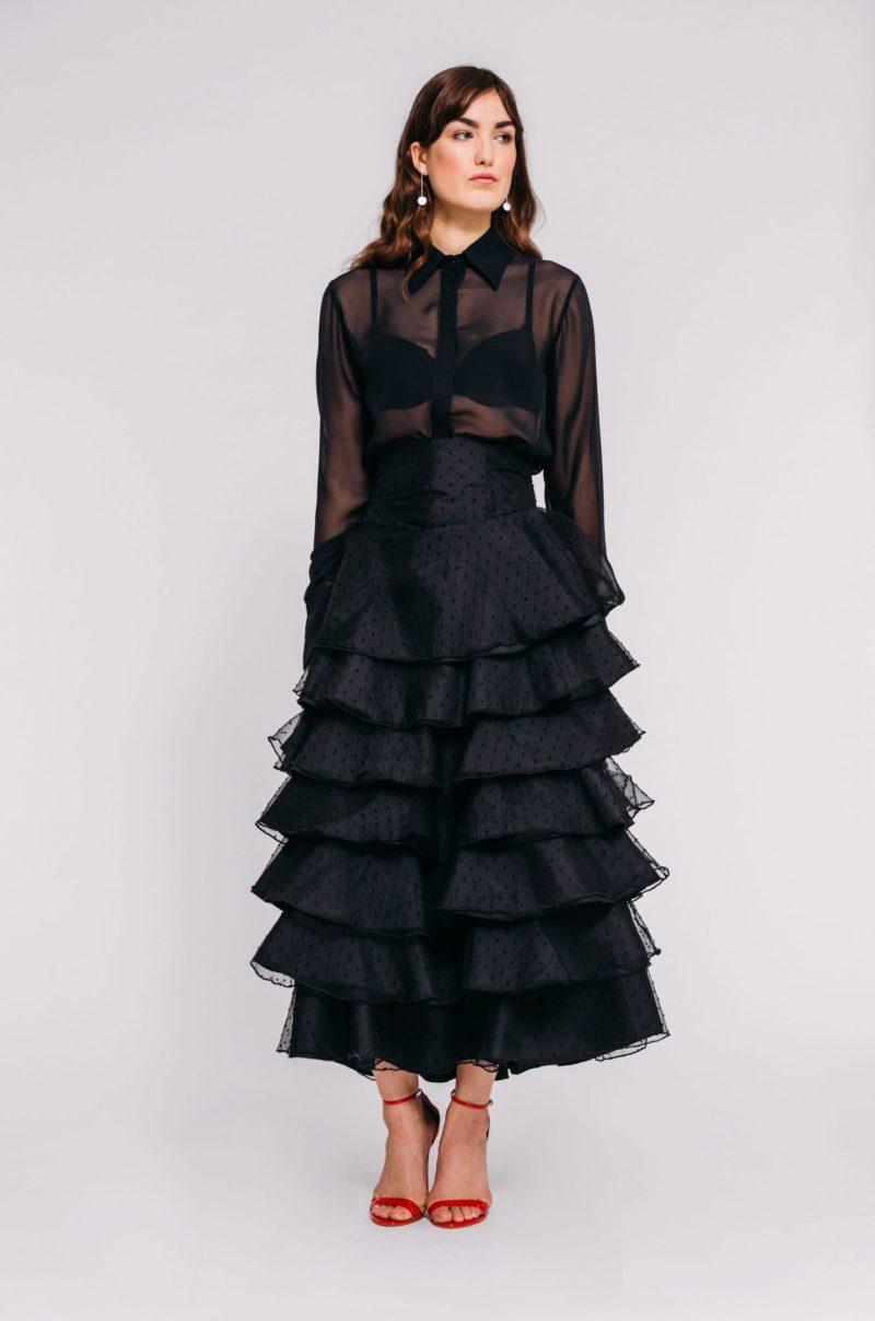 Silk chiffon shirt rushcouture designer claudette floyd