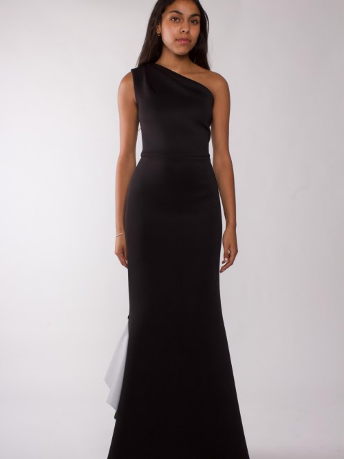 """""""Black one shoulder draped gown"""""""