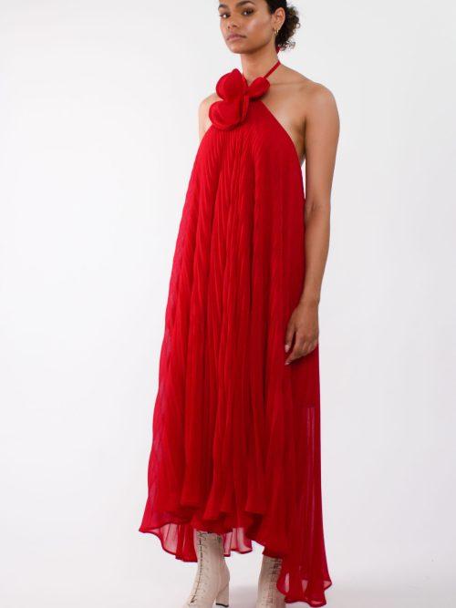 """ loose pleated chiffon maxi dress"""