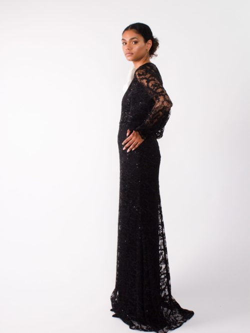 """Evening designer lace gown"""