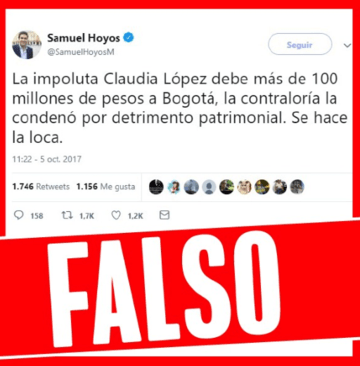 Claudia López NO le debe 100 millones de pesos a Bogotá