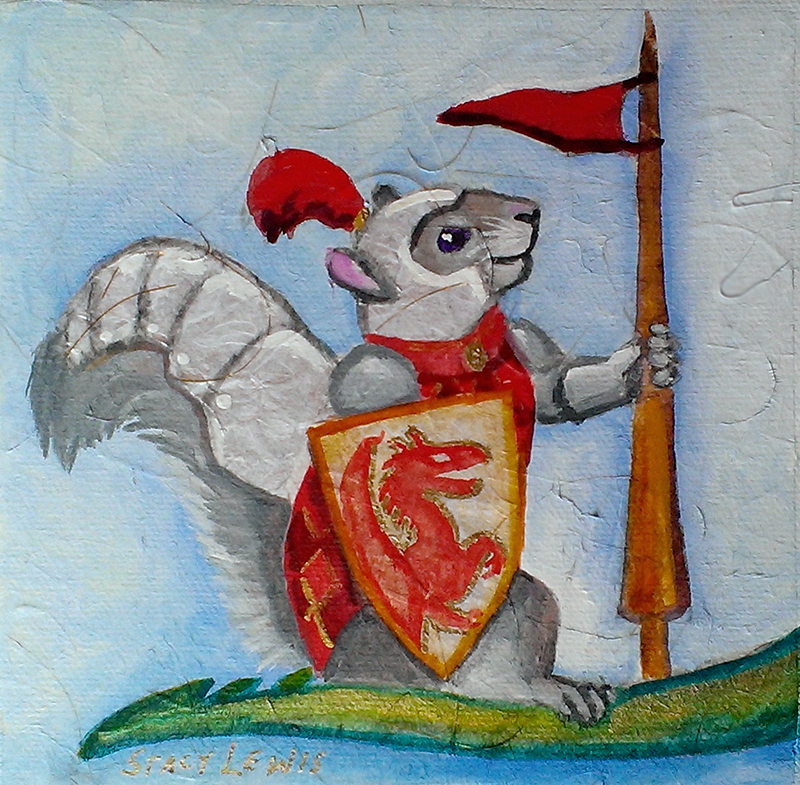 painting of a squirrel in armor
