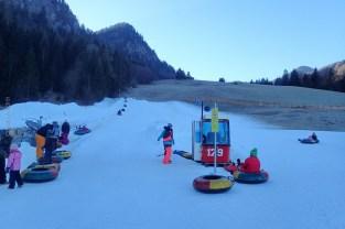 snowtubing, também com neve artificial, início da viagem