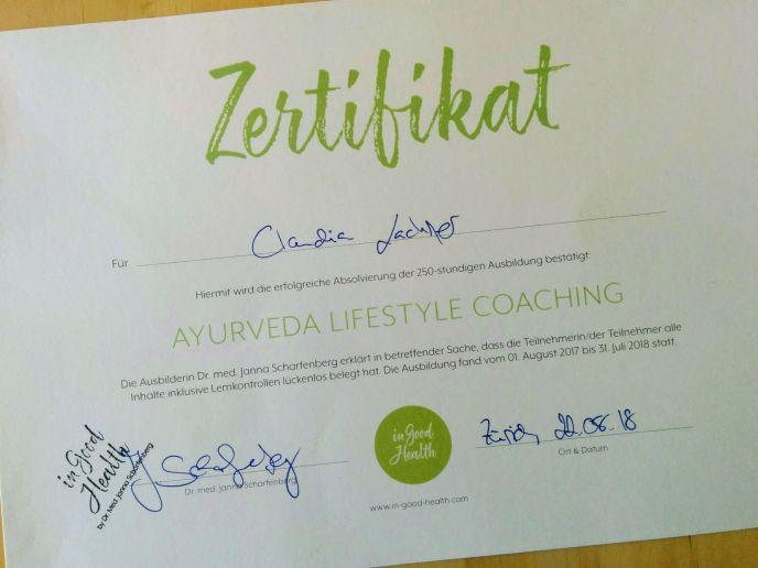 Ayurveda Lifestyle Coaching Zertifikat