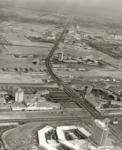 1968. An aerial of the strip. In the bottom left is the Dunes hotel. Bottom right is Caesars Palace. The Sands Hotel is near the center. no caption