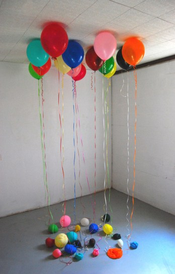 Later On, 2010. Balloons, ribbon. Variable dimensions