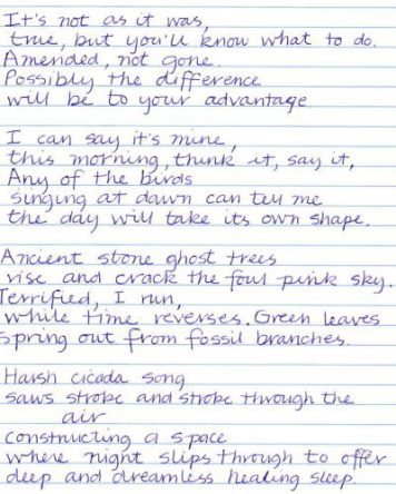 I've been copying my own poetry as handwriting practice. Here are some tanka.