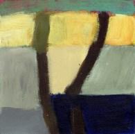 """Small landscape, Day 20. 6"""" x 6"""" on Masonite."""