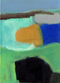"""Small landscape, Day 53 - 7"""" x 5"""" on canvas board."""